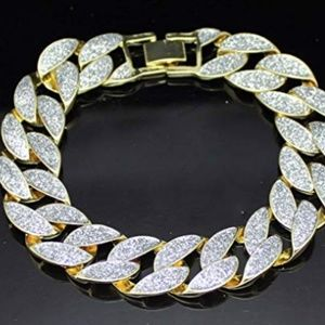 "Other - Frosted Miami Cuban Curb Link Gold Plated 8"" 15mm"